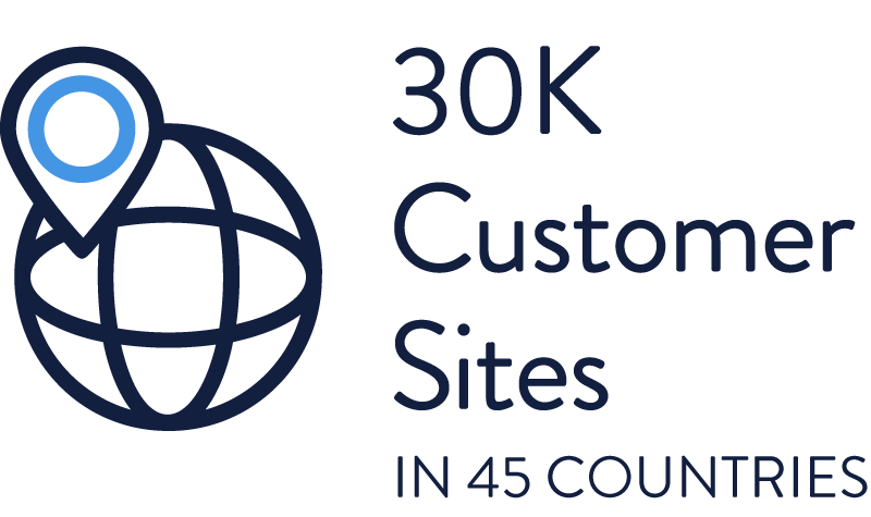 30K Customer Sites in 45 Countries